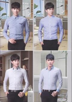 长袖修身版男士衬衣